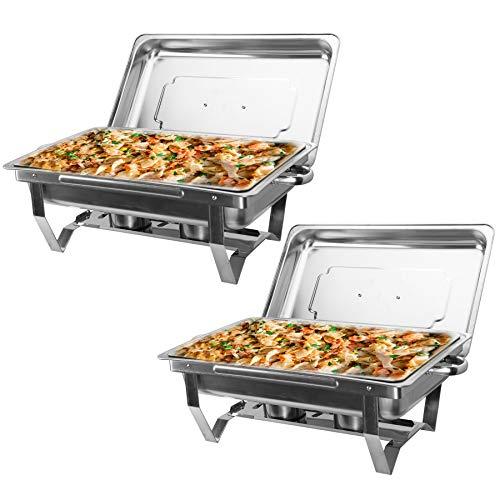 Z ZELUS Scaldavivande in Acciaio Inox Contenitore Vassoio di Riscaldamento 9L Pentole di Riscaldamento Chafing Dish per Buffet di Catering e Feste 2 Pezzi