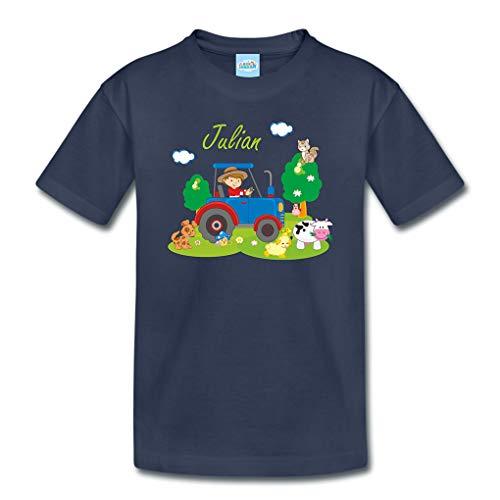 T-Shirt mit eigenem Namen für Babys Kleinkinder Kinder Kindergarten Schulkind Kindershirt Sommershirt Bauernhof Traktor (96-104)