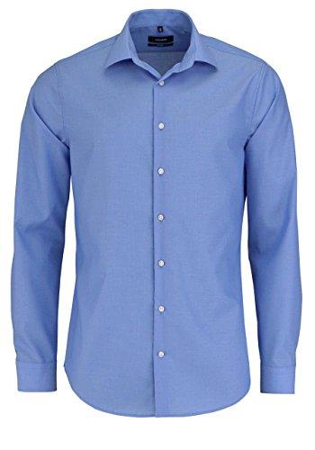 Seidensticker Herren Shaped Fit Businesshemd, Blau (Mittelblau 14), 38