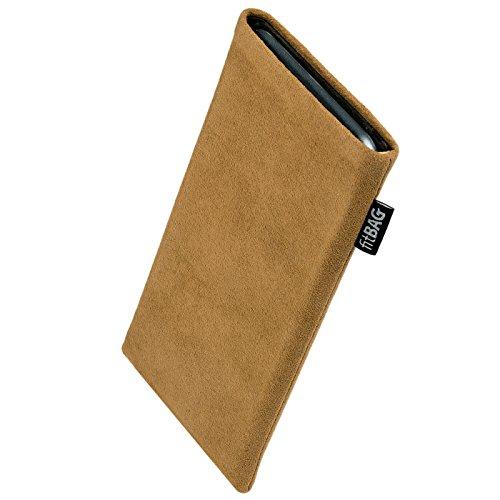 fitBAG Classic Sand Handytasche Tasche aus original Alcantara mit Microfaserinnenfutter für Sony Ericsson J120 J120i | Hülle mit Reinigungsfunktion | Made in Germany