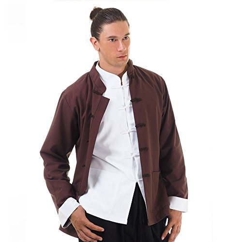 Asia China Kung-Fu Tai-Chi & Meditations Jacke T-Shirt Baumwolle (XL, Braun)