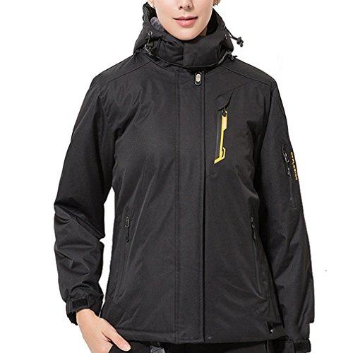 emansmoer Femme Winddicht Imperméable Outdoor Sport Veste de Ski Camping Randonnée Hiver Rembourré Doublé Polaire Manteau (Medium, Noir)