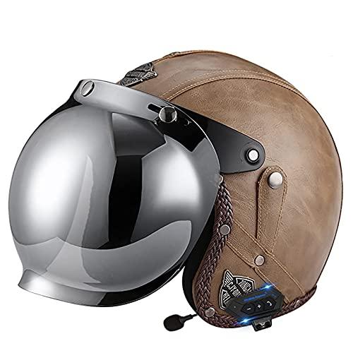 MRDAER Casco de Motocicleta Bluetooth 4/3 Medio Casco Retro Abierto con certificación ECE/Dot Lente de Alta definición Cuerpo de Casco de Seguridad ABS, Adecuado para Todo el Personal