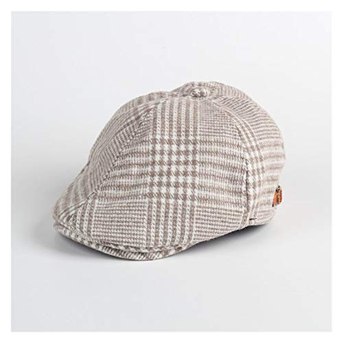 JSJJAJN Vinter barn pojkar pläd ull basker hattar hätta hatt (färg: Beige, storlek: 50 cm)