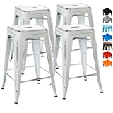 """UrbanMod 24"""" Stool Set of 4 by Distressed White Rustic Bar Stools -Counter Height Stools 330lb Capacity Metal Stool Chair – Stackable Indoor/Outdoor Bar Stools for Kitchen Counter and Island"""