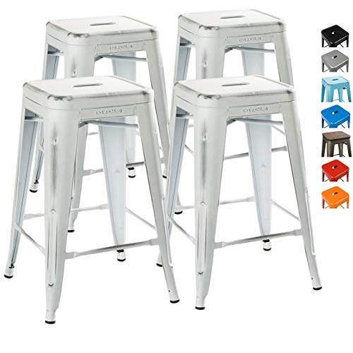 "UrbanMod 24"" Stool Set of 4 by Distressed White Rustic Bar Stools -Counter Height Stools 330lb Capacity Metal Stool Chair – Stackable Indoor/Outdoor Bar Stools for Kitchen Counter and Island"