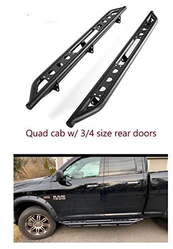 "Nerf Bars 6"" Textured Black Side Steps Running Boards for 2009-2018 (2019 Classic) Dodge Ram 1500 Quad Cab;2010-2019 Dodge Ram 2500 3500 4500 5500 Quad Cab"