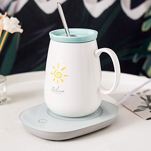 HAOQIANG Taza de cafe Personalizada Taza de Leche para el Desayuno Taza de ceramica Creatividad nordica 380 ml Estilo Alto Sol Blanco Mate + Base
