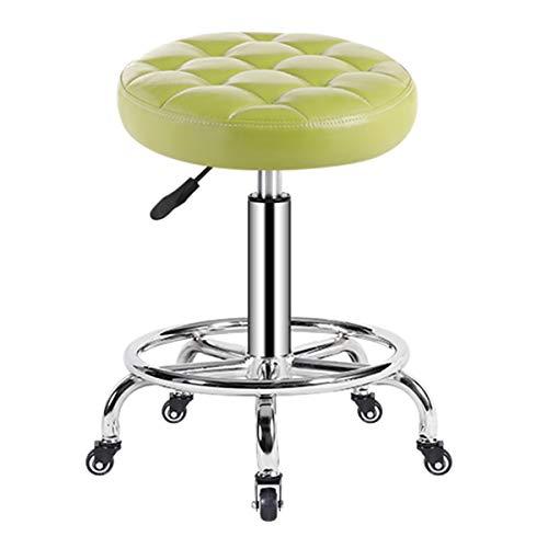Chaises HAIYU de Massage de Salon Tabouret de Bar Roulant Réglable Tabouret de Travail Pivotant à Vérin Hydraulique pour Coiffure Manucure Tatouage Thérapie Salon de Beauté(Color:Vert)