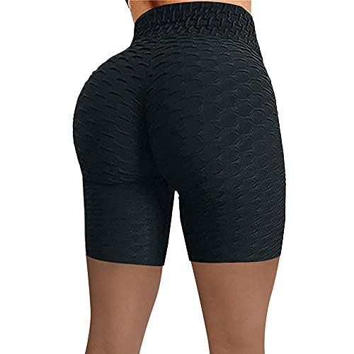 Training Estiramiento Yoga y Pilates-Pantalones de Yoga de Cadera de Cintura Alta, Pantalones Cortos de Burbujas de Lujo de Deportes-Negro_S