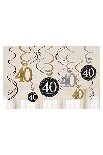 amscan Party Supplies Sparkling Celebration 40 Value Pack Foil Swirl Decorations (12 Piece), Multi Color