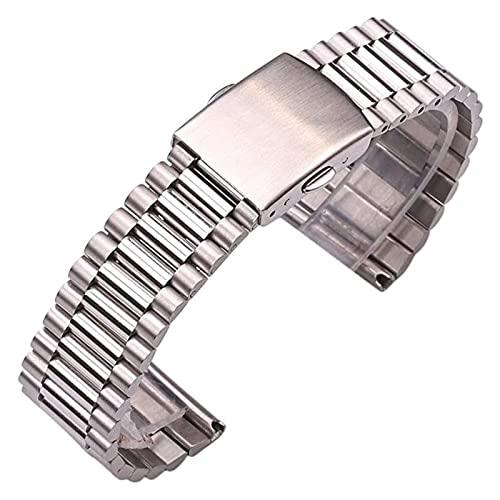 WSYGHP Pulsera de Reloj de Acero Inoxidable Mujeres de Oro Plata Reloj de Reloj 12 mm 14 mm 16 mm 18 mm 20 mm de Reloj de Reloj de Metal Correa Doble Cierre Reloj de Reloj de Reloj Correa Oro Rosa