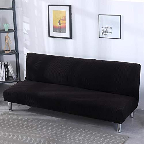 Sofá Cama Plegable de Color Liso con Todo Incluido, Trompeta de 120-150 cm con Negro Negro,Funda elástica para sofá de 1 2 3 plazas, Cubierta Antideslizante en Tejido elástico Extensible, Protector d