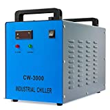 OMTech CW-3000 Industrial Water Chiller 2.6gpm Water Cooling System 9L Water Cooler for 40W 50W 60W CO2 Laser Engraving & Cutting Machines, Radiates 50W of Heat per Degree C