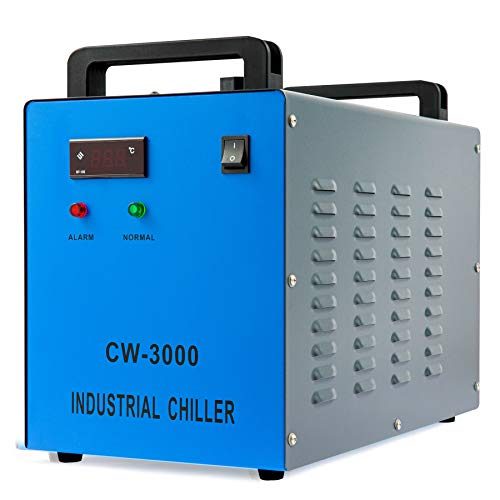 OMTECH 9L Industrial Water Chiller 2.6gpm Water Cooling System CW-3000 Water Cooler for 40W K40 CO2 Laser Engraving & Cutting Machines, Radiates 50W of Heat per Degree C