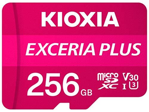 Kioxia 256GB microSD Exceria Plus Flash Memory Card w/SD Adapter SDXC UHS-I U3 4K Class10 V30 A1 R100MB/s W65MB/s LMPL1M256GG2