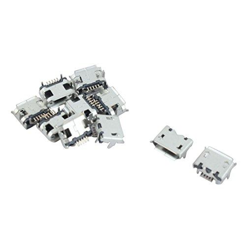 Sourcingmap® 10 St Handy Ersatzteile Typ B Mikro USB Buchse Anschluss Silbrig Metall de