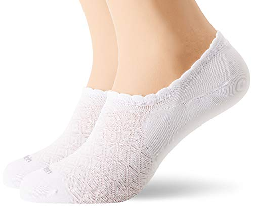 Calvin Klein Socks Womens no Show 2p Diamond Open Work Libby Socks, White, ONE SIZE