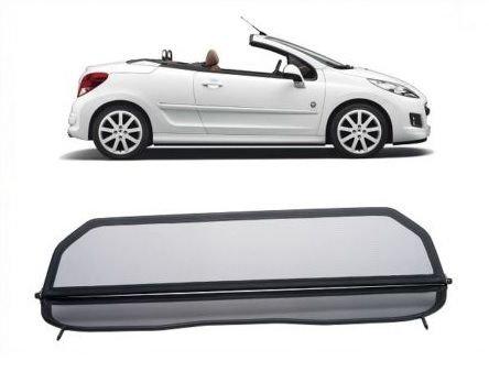 GermanTuningParts Windschott für Peugeot 207 Cabriolet - Klappbar - mit Schnellverschluss – Schwarz | Windabweiser | Windblocker | Wind Deflector