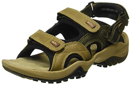 Woodland Men's Khaki Leather Sandals - (8 UK)