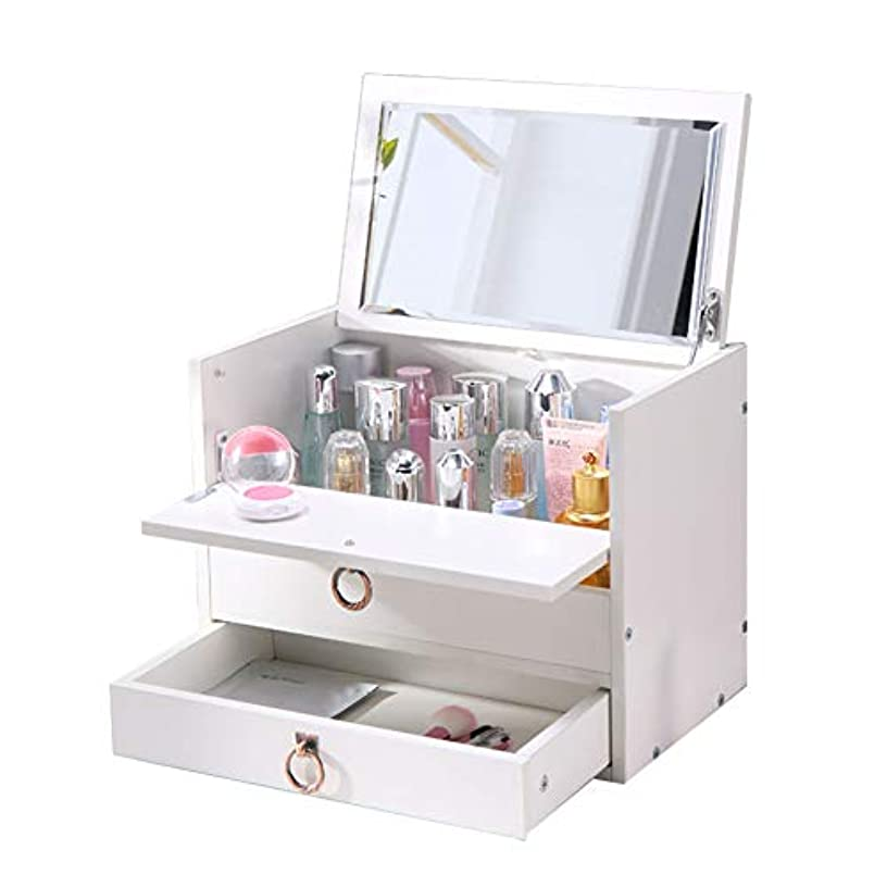 storage box Cosmetics Holder, Wooden Cosmetic Desktop Vanity Mirror A Jewellery Box with Drawers Balcony Bay Window Dresser Computer Desk, Nanayaya