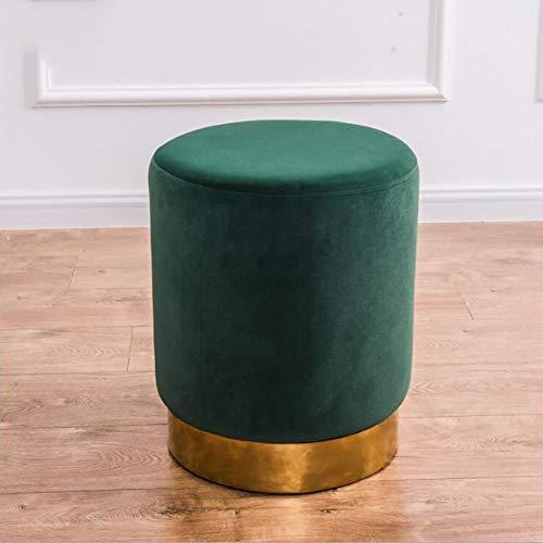 QTQHOME Velvet Round Ottoman Footstool,Asiento De Taburete D