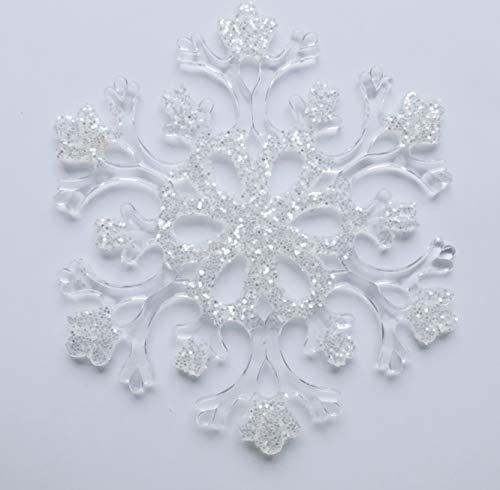 Deko-Schnee-Shop Schneeflocke transparent aus Acryl 15 cm, ca.3 mm dick, 12Stück, (EUR 1,24 je Stück), mit Aufhänger, Winterdekoration, Schneeimitat
