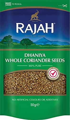 Rajah Semillas de cilantro, enteras - Dhaniya Whole Coriander Seeds - Mezcla de especias indias para numerosos platos 50 g