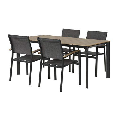 Gartentraum Van Well Turin - Juego de mesa y sillas (4 plazas, 160 cm), color gris y marrón