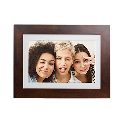 """Brookstone PhotoShare 8"""" Smart Digital Picture Frame, Send Pics from Phone to Frames, WiFi, 8 GB, Holds 5,000+ Pics, HD Touchscreen, Premium Espresso Wood, Easy 1-min Setup"""