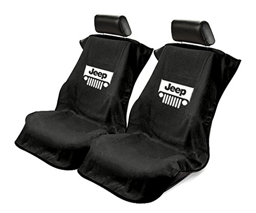 Seat Armour 2 Piece Front Car Seat Covers for Jeep w/Grille - Black Terry Cloth