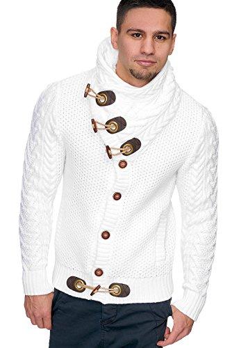 Indicode Heren Fort Worth Grof Gebreid Jack Met Sjaalkraag En Knoopsluiting | Warm Gebreid Heren Vest Met Opstaande Kraag Cardigan Trui Gebreid Winter Jack Gebreid Jack Voor Mannen