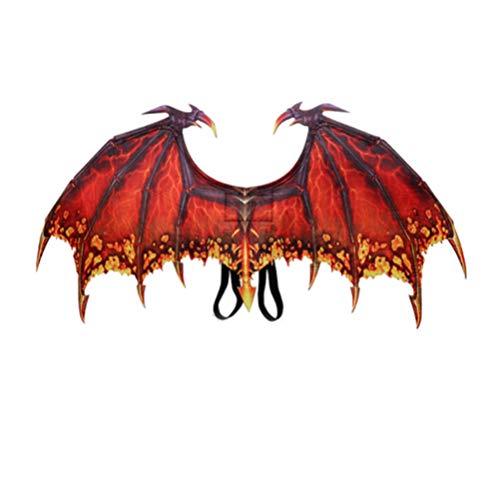 PRETYZOOM Drachen Kostüm Flügel Rot Flügel Teufel Dinosaurier Kostüm Kinder Erwachsene Kostüm Requisiten Geburtstag Karneval Dino Party Cosplay Zubehör