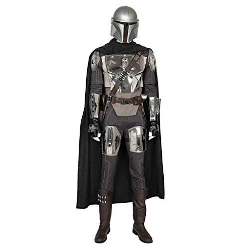 nihiug Mandalorian Cosplay Adulti Serie Costume Casco di Star Wars Possono Essere Personalizzati Set Completo di Maschera Pieno facciale per Halloween Pasqua Carnevale,Black-XL