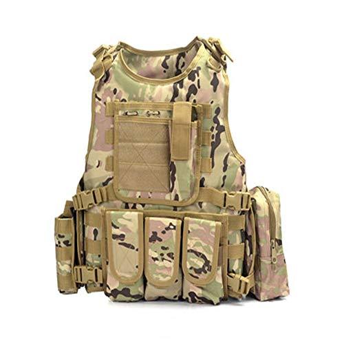 LXY&AI CS Gilet Tactique - Outdoor Gilet D'entraînement De Combat Ultra Léger Et Respirant - Pochette Détachable Gilet Jungle Field - Ceinture Tactique De Taille Ajustable - Noir,CP