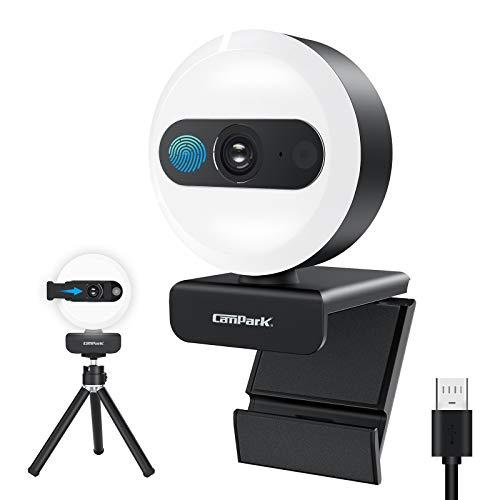 Campark 2K Ringlicht Webcam Streaming mit Mikrofon, Autofokus QHD Automatischer Lichtkorrektur Webkamera Plug und Play mit Abdeckung und Stativ Computerkamera für Windows Mac und Android
