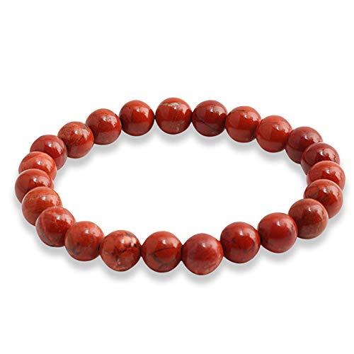 Pulsera de piedra con piedras naturales, pulseras de cuentas para yoga, chakras, piedra de lava, joyería de moda, pulsera elástica para accesorios unisex, joyería de yoga, piedra roja