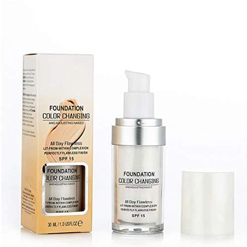 1pc Color Changing Fondation Humidité De Teint Liquide Légère Hydratant Maquillage Haute Adhesive Couverture Base De Maquillage