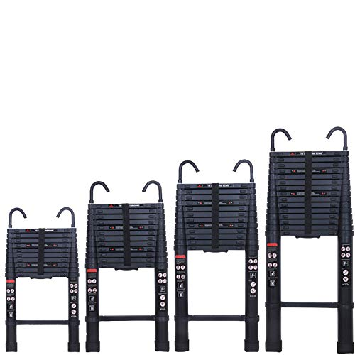 3.2M/3.8M/5M/6.2M Aluminum Telescopic Ladder with Detachable Hook for Loft Indoor Outdoor Office House, Protable Folding Extension Ladder, EN131, Max Load 150KG