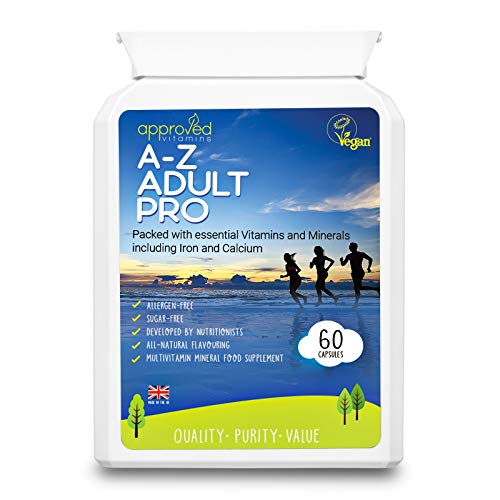 Adults Multivitamins & Minerals Vitamin C with Zinc, Iron & Calcium - Vitamin C Immune Multivitamin Support for Adults- 60 Easy Swallow Capsules Vegan Vegetarian Kosher Halal Vitamin Capsules