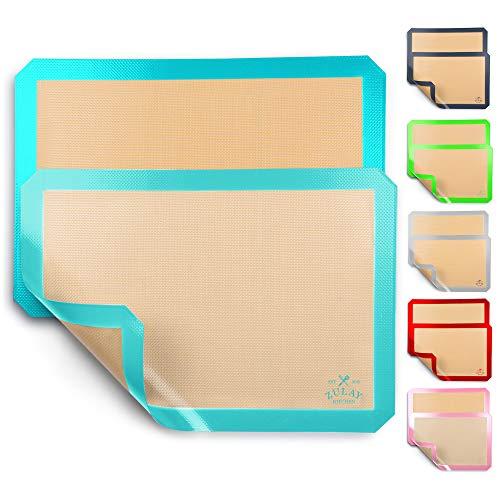 Zulay Kitchen (2 Pack) Silicone Baking Mat Sheet Set - Reusable Baking Mat Nonstick - Half Sheet Baking Mat For Oven (Size 16.5' x 11.6') - Blue