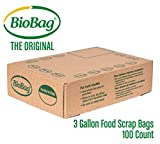 BioBag, The Original Compostable Bag, Kitchen Food Scrap Bags, Non GMO, 3 Gallon, 100Count