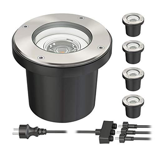ledscom.de Spot encastrable dans le sol BOS pour l'extérieur pivotant acier inoxydable ronde IP67 150mm Ø avec 5W LED ampoules 300lm blanche lot de 5