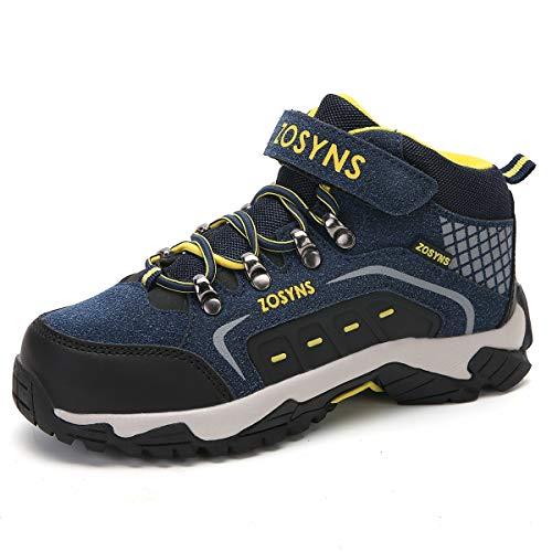 ZOSYNS Kinder Wanderschuhe Jungen Trekking Schuhe Mädchen Wanderhalbschuhe Kinder Stiefel für Jungen Stiefeletten Outdoorschuhe Mädchen Wanderschuhe Schneestiefel Blau 36