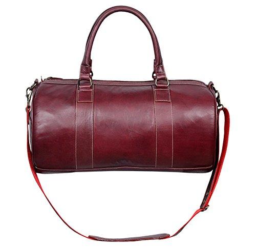 Leder-Weekend Bag Holdall New Stilvolle Duffel Travel Gym Männer Frauen Damen Nacht Designer-Wochenende Glasur Ledertasche 9098 (Cherry)