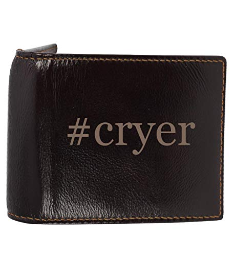 #cryer - Genuine Engraved Hashtag Soft Cowhide Bifold Leather Wallet