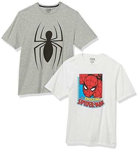 Amazon Essentials Disney Loose-Fit Crewneck T-Shirt Fashion-t-Shirts, 2-Pack Marvel Spider-Man, XL, Pacco da 2