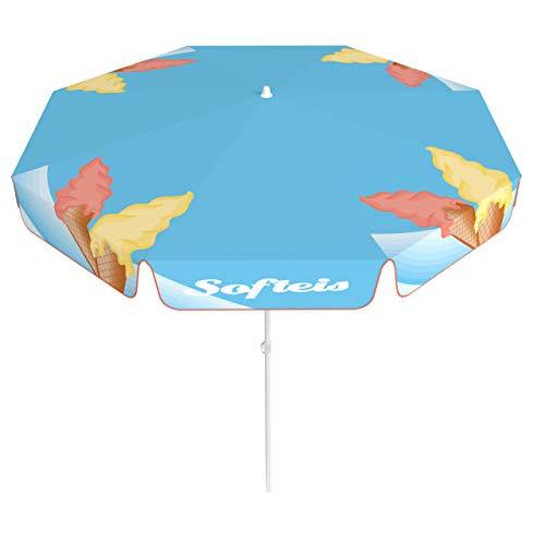 Vispronet® Sonnenschirm, rund, Volant ∅ 180 cm Softeis ✓ 2-teiliger Schirmstock ✓ 4-teilig Bedruckt ✓ Durchdruck des Motivs ✓ kippbar