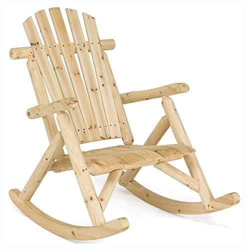 HomyDelight Rocking Chair, Wood Single Porch Rocker Lounge Patio Rocking Chair