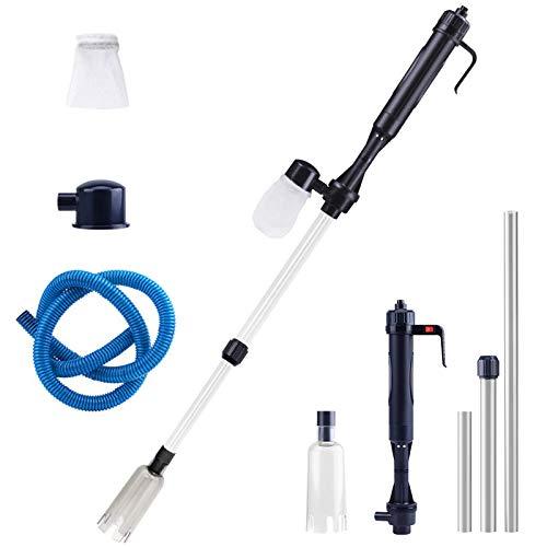 Komake Aspiradora eléctrica para acuario, limpiador de acuario, aspirador de acuario, aspirador eléctrico de grava, sifón para acuarios, cambio de agua/grava, algas de acuario, limpieza de suciedad